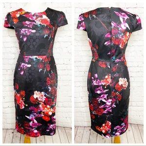 Betsey Johnson Black Pink Floral Scuba Dress 2